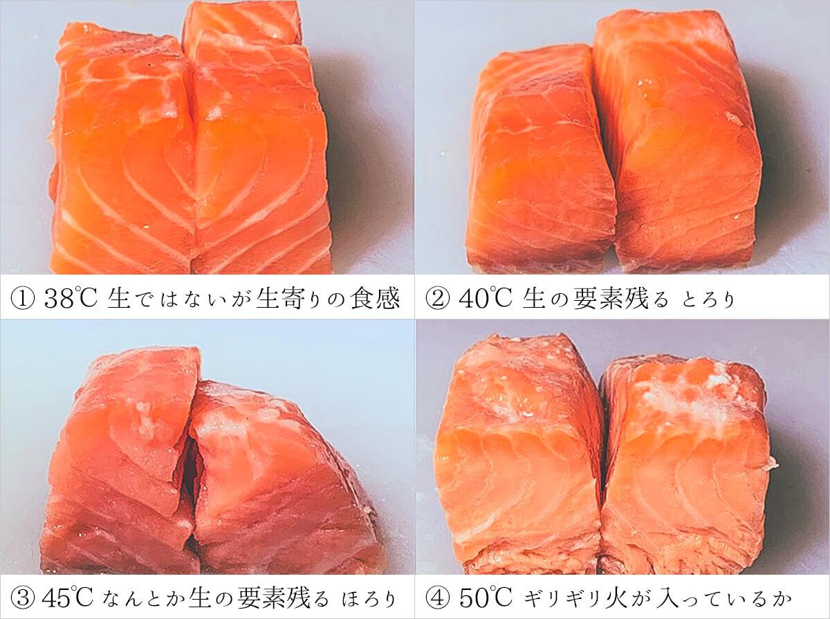 38℃〜 サーモンの火入れ温度比較実験 | 低温調理レシピ:BONIQ公式簡単 ...