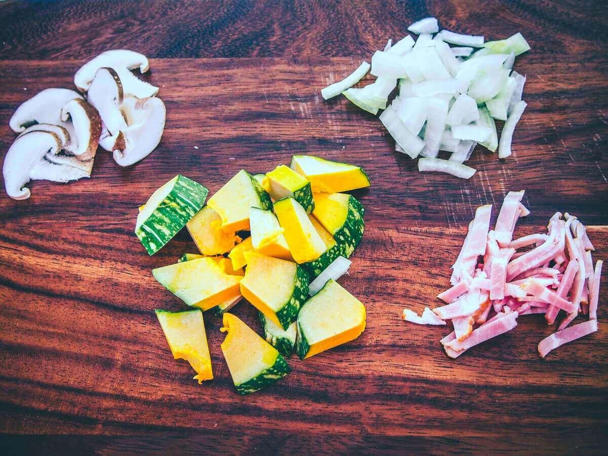 カットした具材(とろふわかぼちゃの豆乳スープ):低温調理レシピ