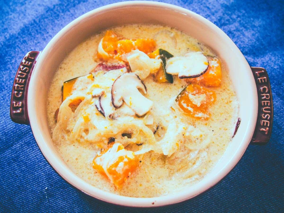 とろふわかぼちゃの豆乳スープ:低温調理レシピ