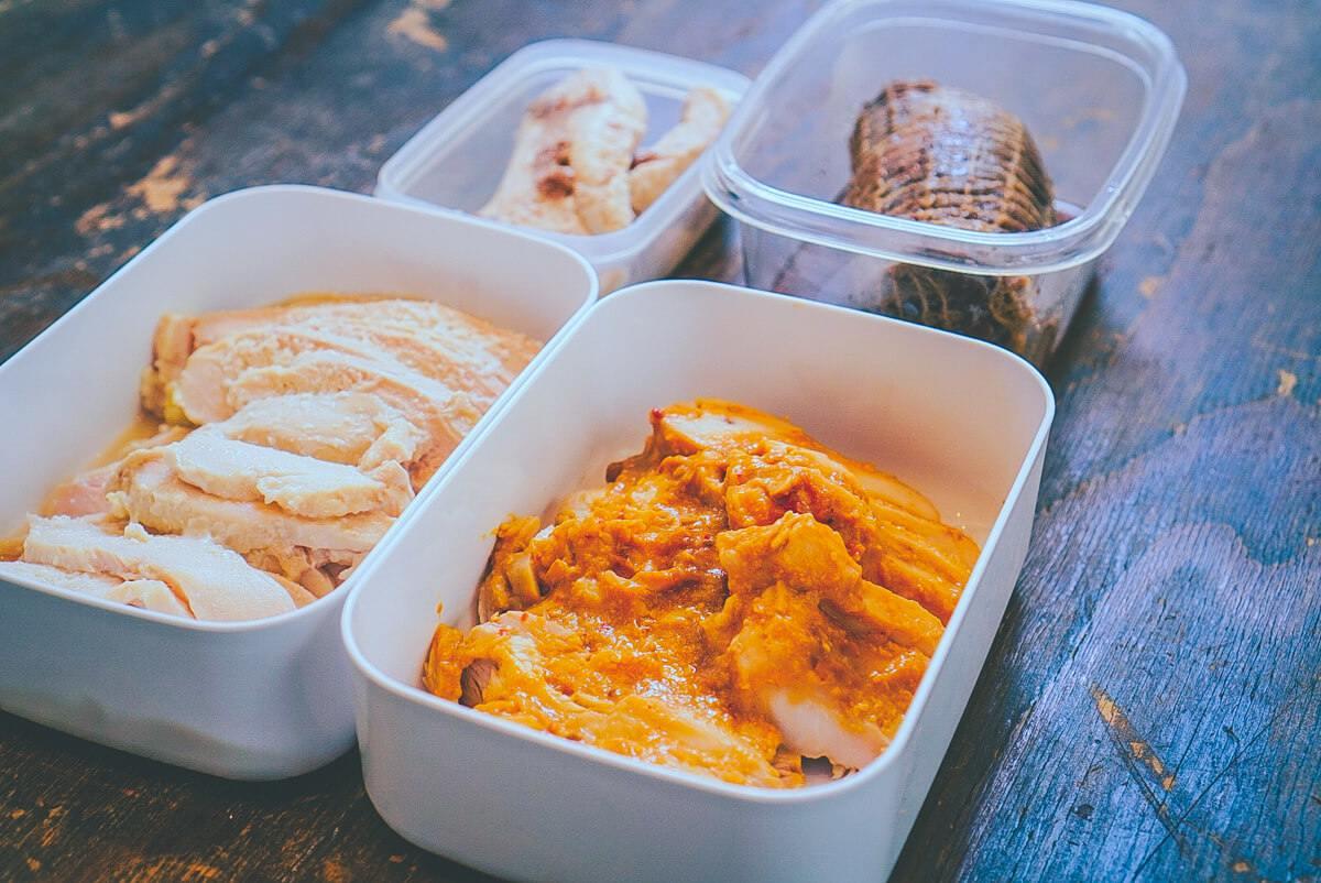 鶏肉・豚肉・卵の5品作り置き(完成):低温調理レシピ